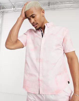 Camisa rosa de manga corta con efecto teñido de Soul Star