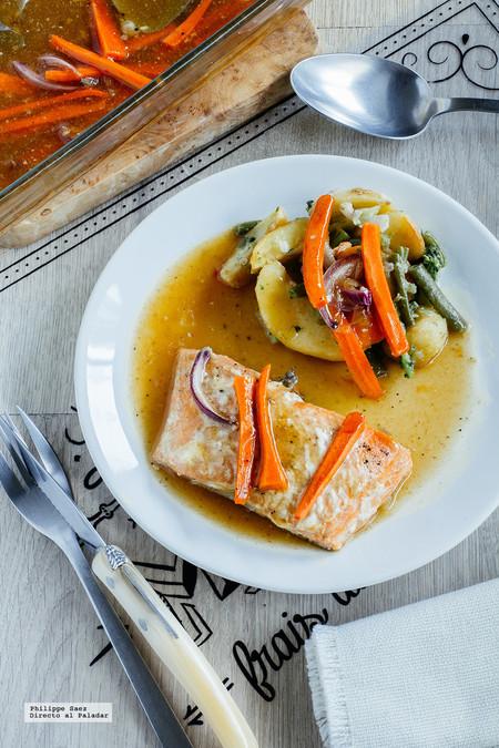 Salmón al horno en salsa agridulce. Receta fácil