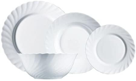 Luminarc Vajilla De Vidrio Opal Extra Resistente Para 6 Personas 19 Piezas 100 Higienico Con Ensaladera Acero Inoxidable Blanco