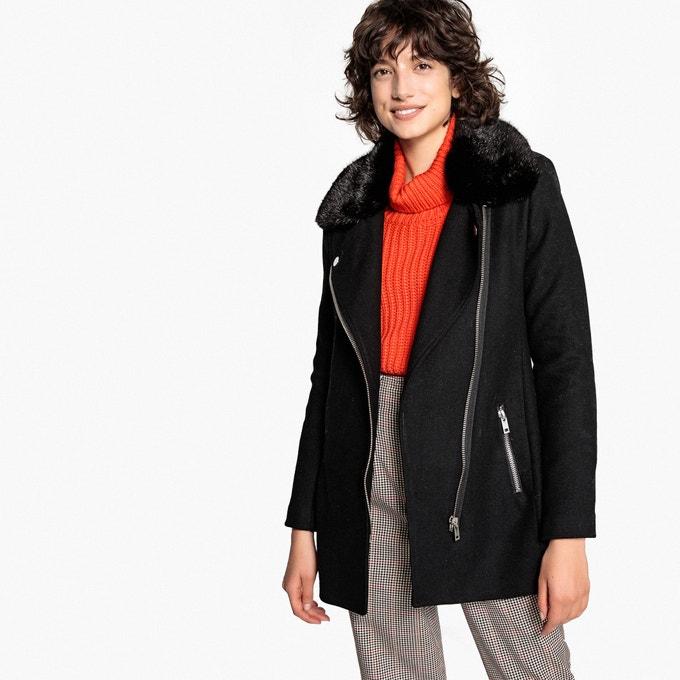 Abrigo estilo motero, mezcla de lana