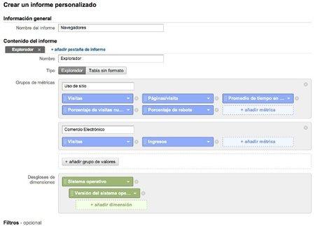 Analytics permite segmentar mejor los informes personalizados