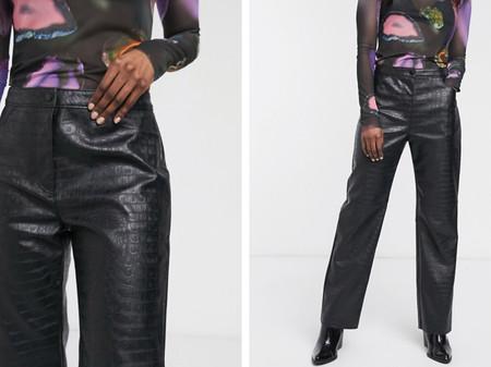 Pantalones De Cuero Sintetico Negro Con Efecto Piel De Cocodrilo De Weekday