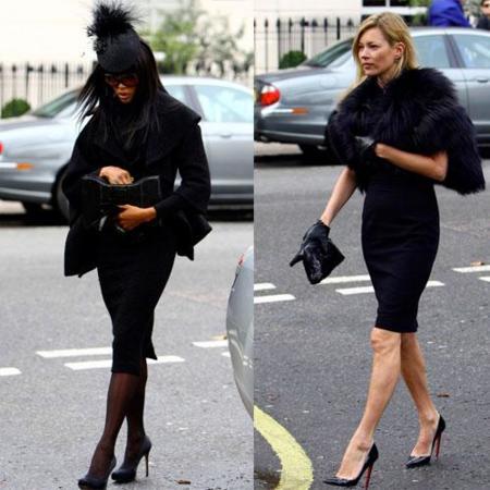 Naomi Campbell y Kate Moss en el funeral de Alexander McQueen