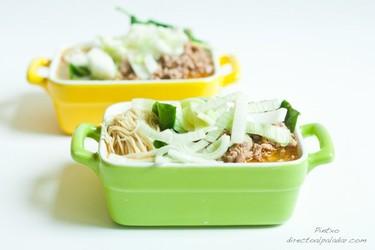 Sopa de noodles con solomillo de cerdo. Receta
