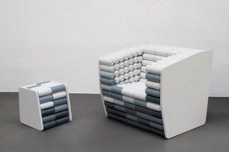 Recicladecoración: asientos hechos con botes de spray