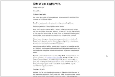 Captura de pantalla de la versión en español de 'This is a web page'