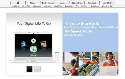 Supuesto anuncio del MacBook en la web de Apple
