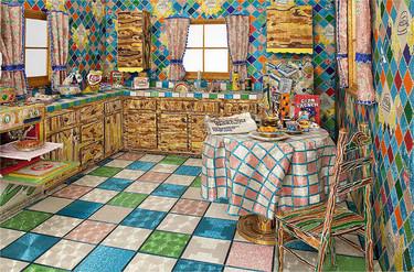 Una impactante cocina cubierta enteramente por cuentas de vidrio de colores