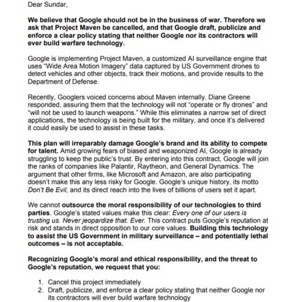 Carta Empleados Google
