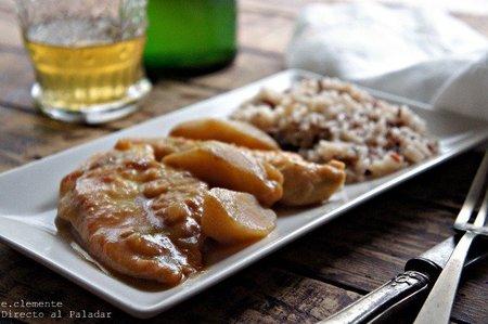 Pollo con manzanas y sidra. Receta