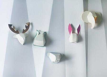 Adorables cabezas de animales de Gu-pa en cartón para decorar la pared