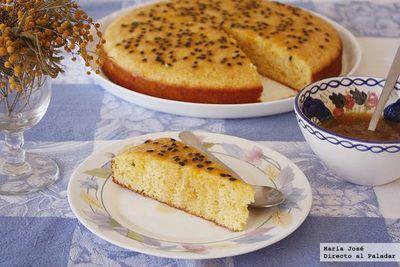 Receta de pastel de polenta y fruta de la pasión