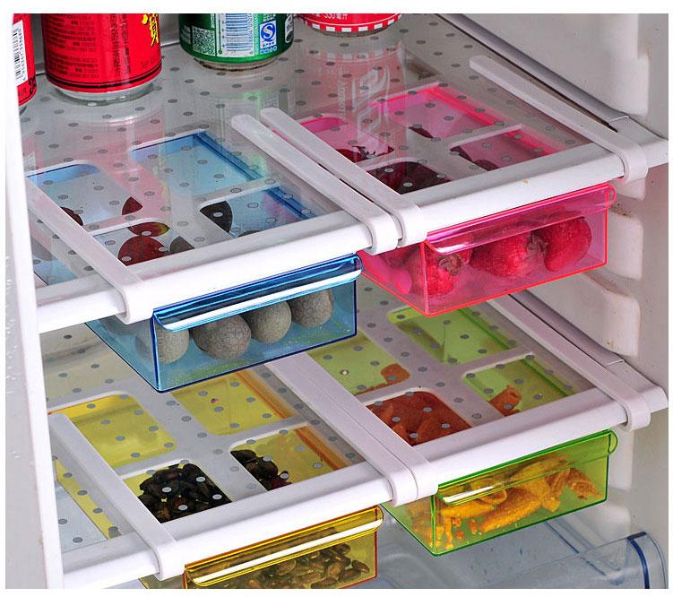 Tobogán de cocina nevera congelador organizador ahorrador de espacio cajón refrigerador caja de almacenamiento estante deslizante bajo estante organizador titular