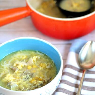 Receta de sopa de pollo con maíz y vermicelli al estilo chino