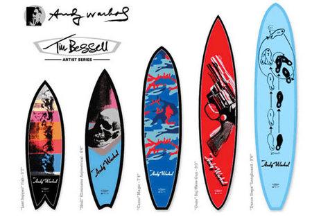 Tablas de Surf Pop Art, colaboración entre la fundación Andy Warhol y Tim Bessell