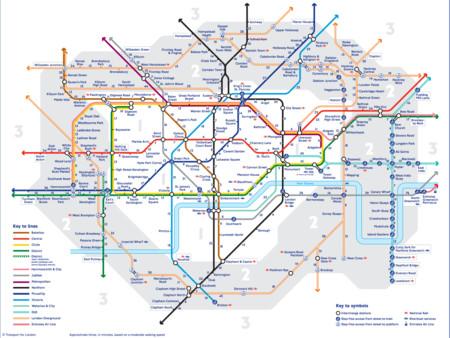Editan un mapa del Metro de Londres que muestra las distancias andando entre paradas