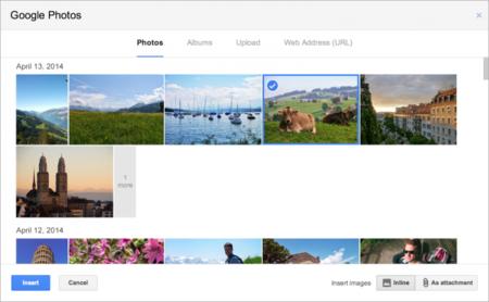 Gmail permite insertar imágenes directamente de Google+