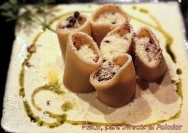 Pasta con salsa de requesón y olivada. Receta