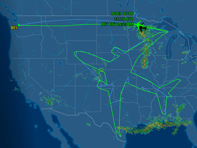 Un Boeing 787 se ha pasado 17 horas dibujándose a sí mismo en el aire para probar sus nuevos motores