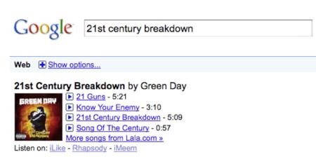Google Music Search no es una tienda de música propiamente dicho