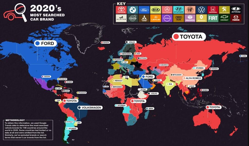 Este es el mapa de las marcas de coches más buscadas en 2020, por países