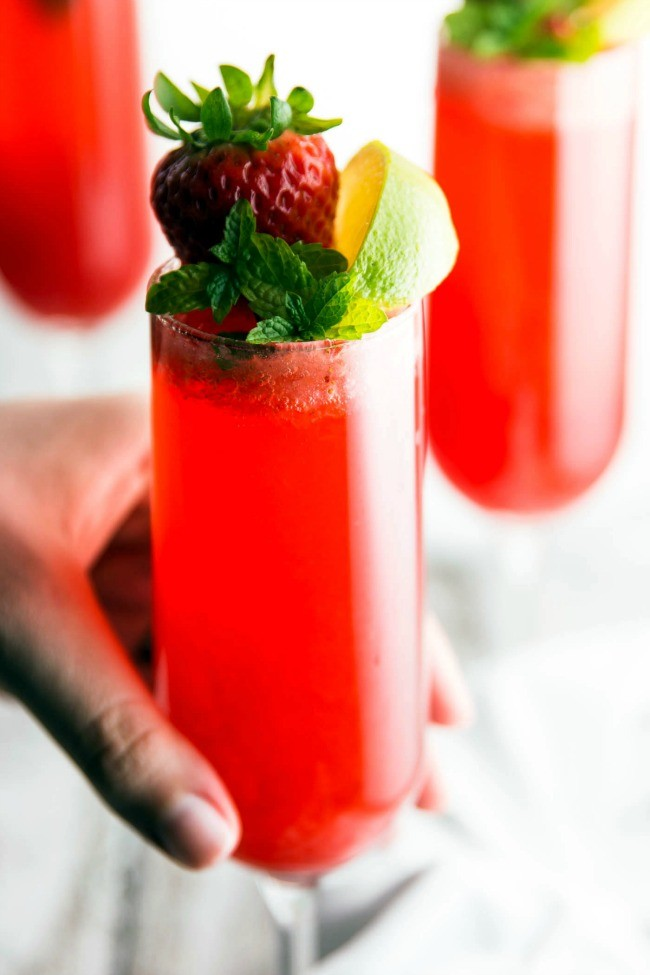 Strawberry Lime Champagne Cocktail Recipe 5