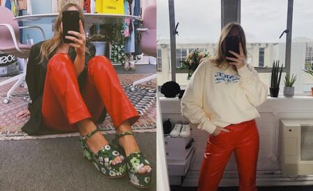 Pantalones Efecto Piel Rojos