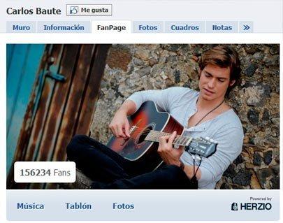 Herzio: Ejemplo de la página de Facebook de Carlos Baute utilizando el servicio español