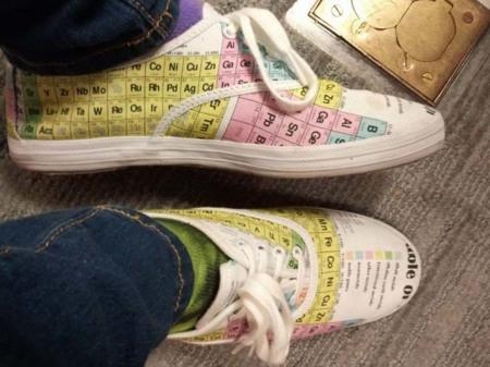 Zapatillas con la tabla periódica, tus favoritas para los exámenes de química