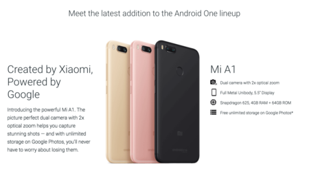 Android One a bordo del Xiaomi Mi A1