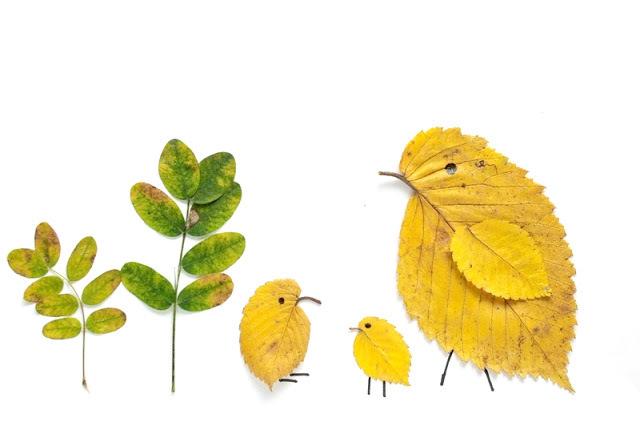 Pajaritos con hojas de otoño