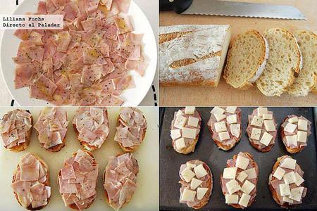 Tostas de jamón asado marinado con provolone. Pasos