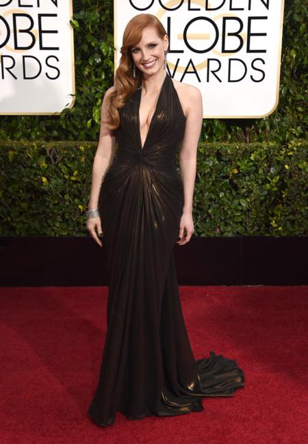 Jessica Chastain Versace Golden Globes vestido