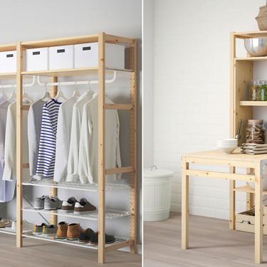 Una de las series más versátiles y customizables de Ikea, la serie Ivar,  ahora también se convierte en una práctica mesa o un armario muy completo