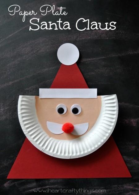 Diy Navidad 11 Papa Noel Plato Carton