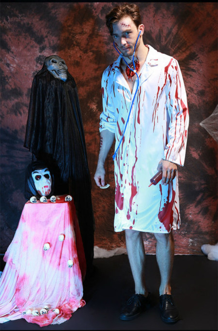 Zombie Costume For Man Scary Costume Cosplay Halloween Costumes For Men Bloody Male Doctor Cosplay Xc