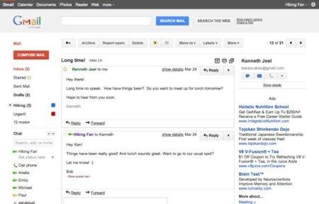 Gmail se suma al rediseño de los servicios de Google