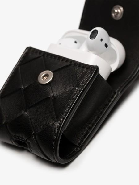 Bottega Veneta Black Leather Air Pod Case Necklace 14374371 22321578 800