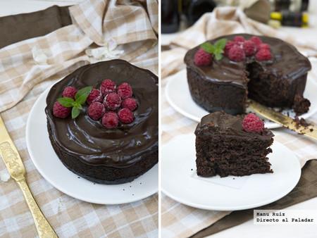 Pastel vegano de chocolate y frambuesas. Receta
