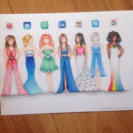 Sketches Vestidos Redes Sociales 2