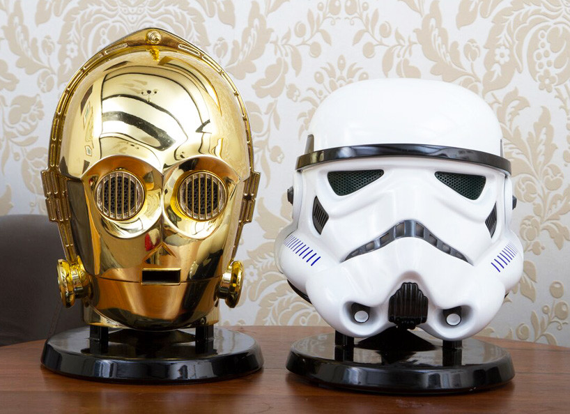 Star Wars Audio System Gold Plated C3po Stormtrooper Heads 01