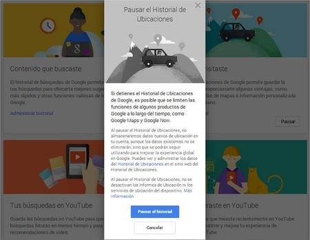 Pausar historiales de Google
