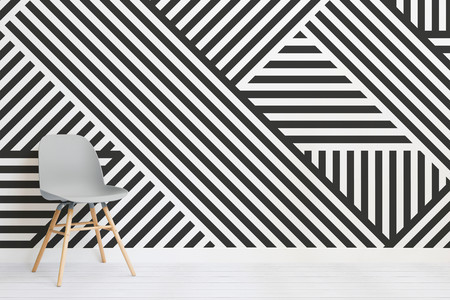 Divert Striped Geometric Wall Mural Chair