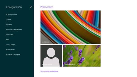 Windows 8.1, Pantalla de configuración