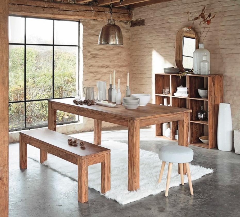 Mesa de comedor de madera de maciza de palo rosa L.180