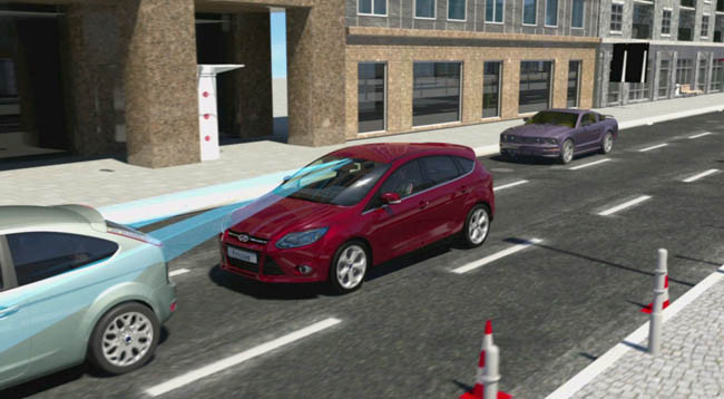 Prueba del sistema anti colisiones Active City Stop de Ford para evitar colisiones
