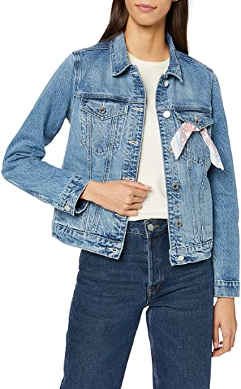 Scotch & Soda Easy Trucker Jacket-Classic Blue In Recycled Cotton Chaqueta para Mujer