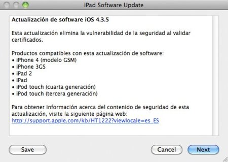 Apple publica iOS 4.3.5 por sorpresa