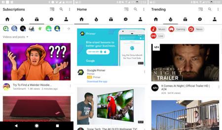 YouTube para Android cambia el rojo por el blanco en su interfaz, próximamente el modo oscuro