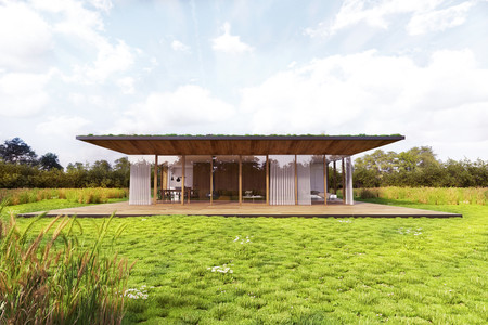 Unifamiliar con cubierta vegetal en el tejado